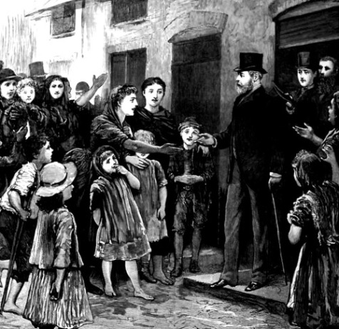 A contemporary illustration of a Royal visit to the slums of Dublin.